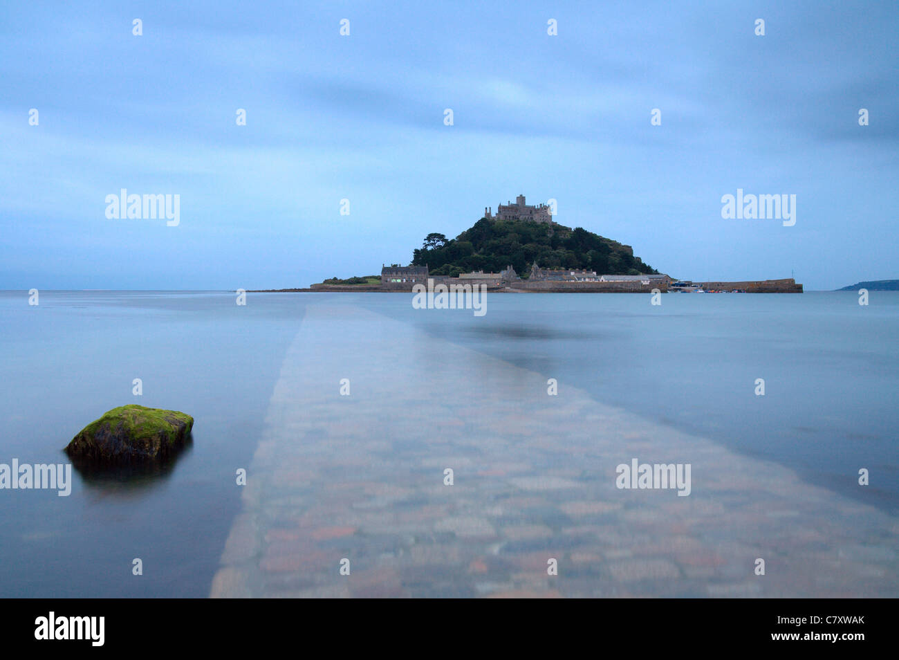 Causeway, looking out across the sea to 'St Michaels Mount' Marazion Cornwall - Stock Image