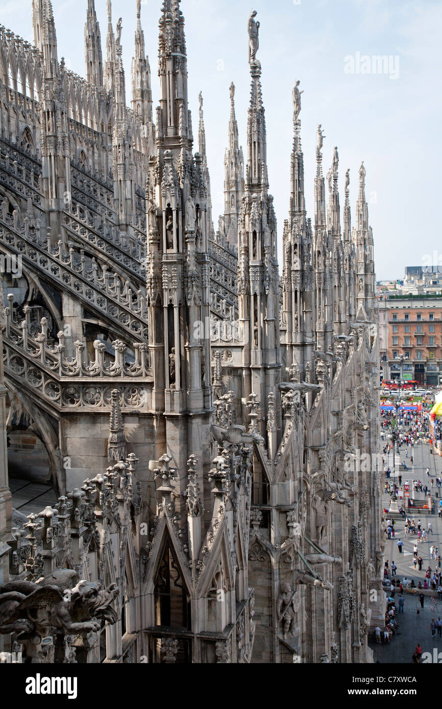 Milan - Duomo from roof - Stock Image