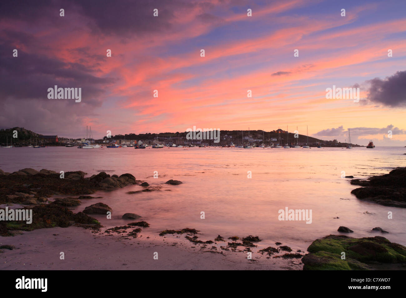 Hugh Town, St Marys, Sunset from Porthloo beach, Isles of Scilly, Cornwall, UK - Stock Image