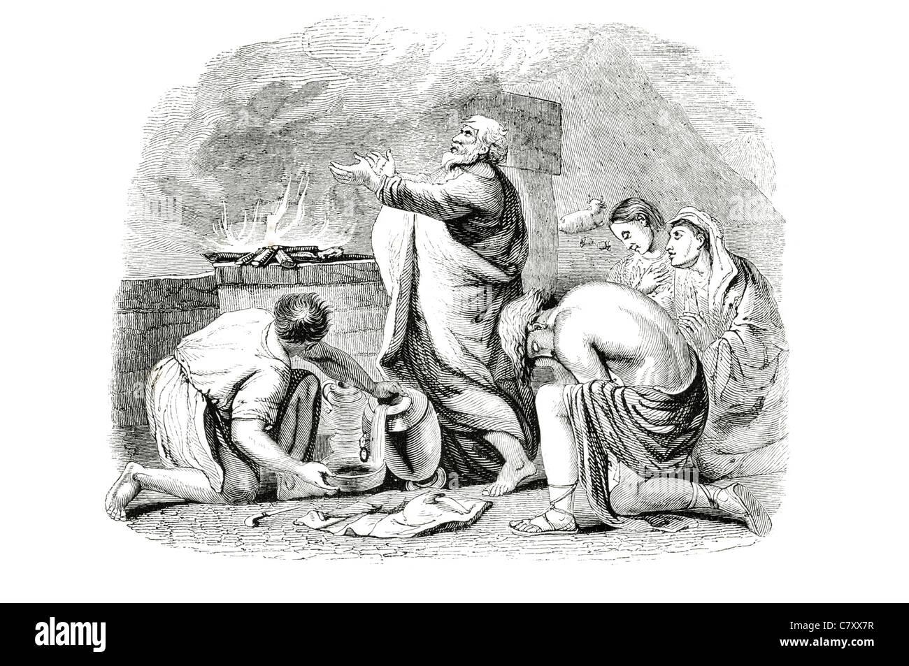 The sacrifice Noah offering Hebrew Bible antediluvian Patriarchs Genesis ark Quran - Stock Image