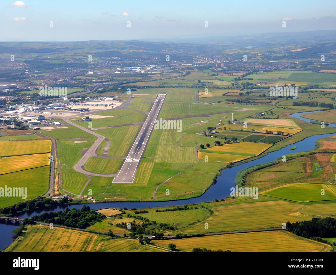 Glasgow International airport main runway and the Black Cart Water, Scotland, UK. Stock Photo