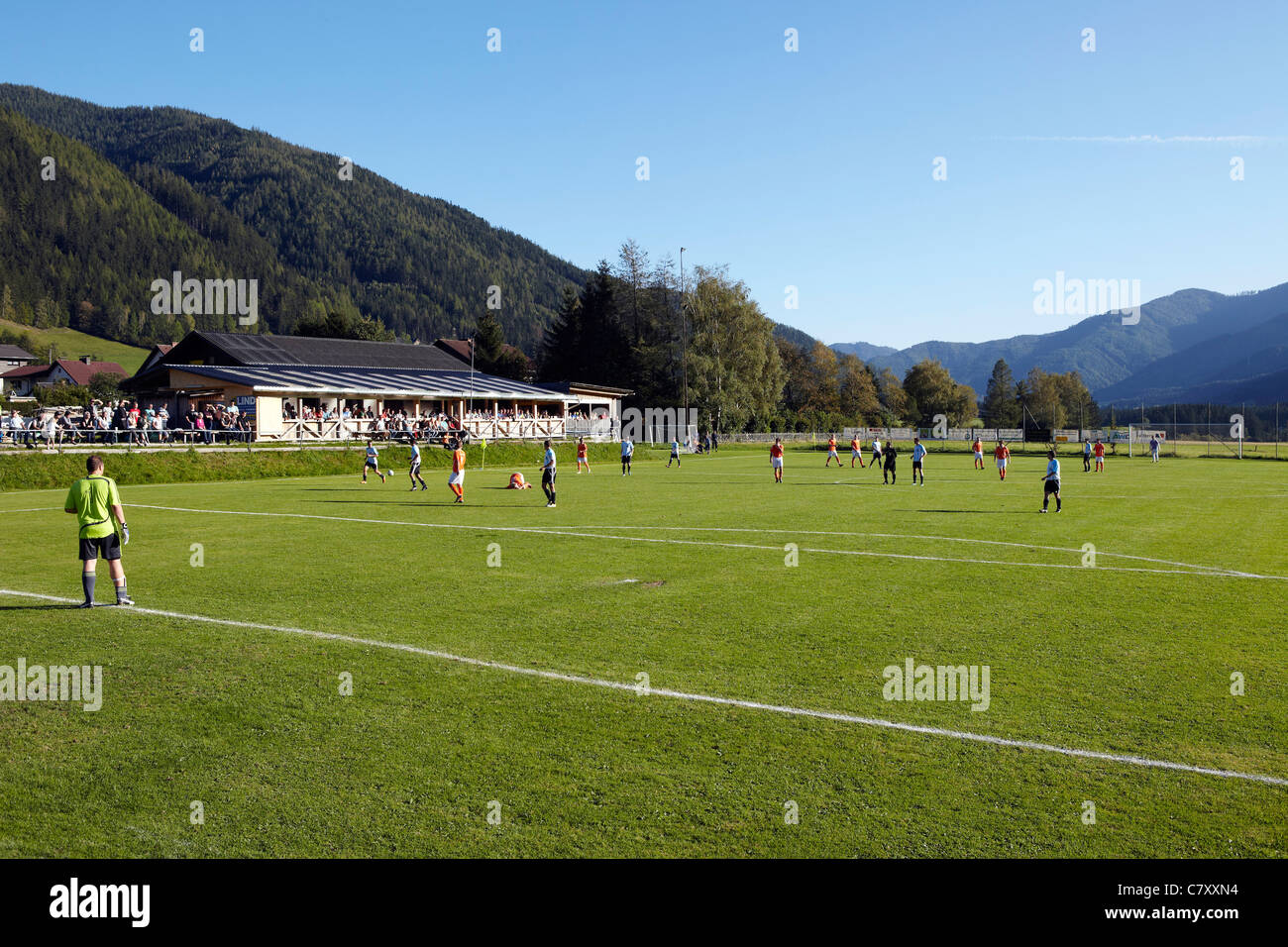 football pitch with mountain view, Austria - Stock Image