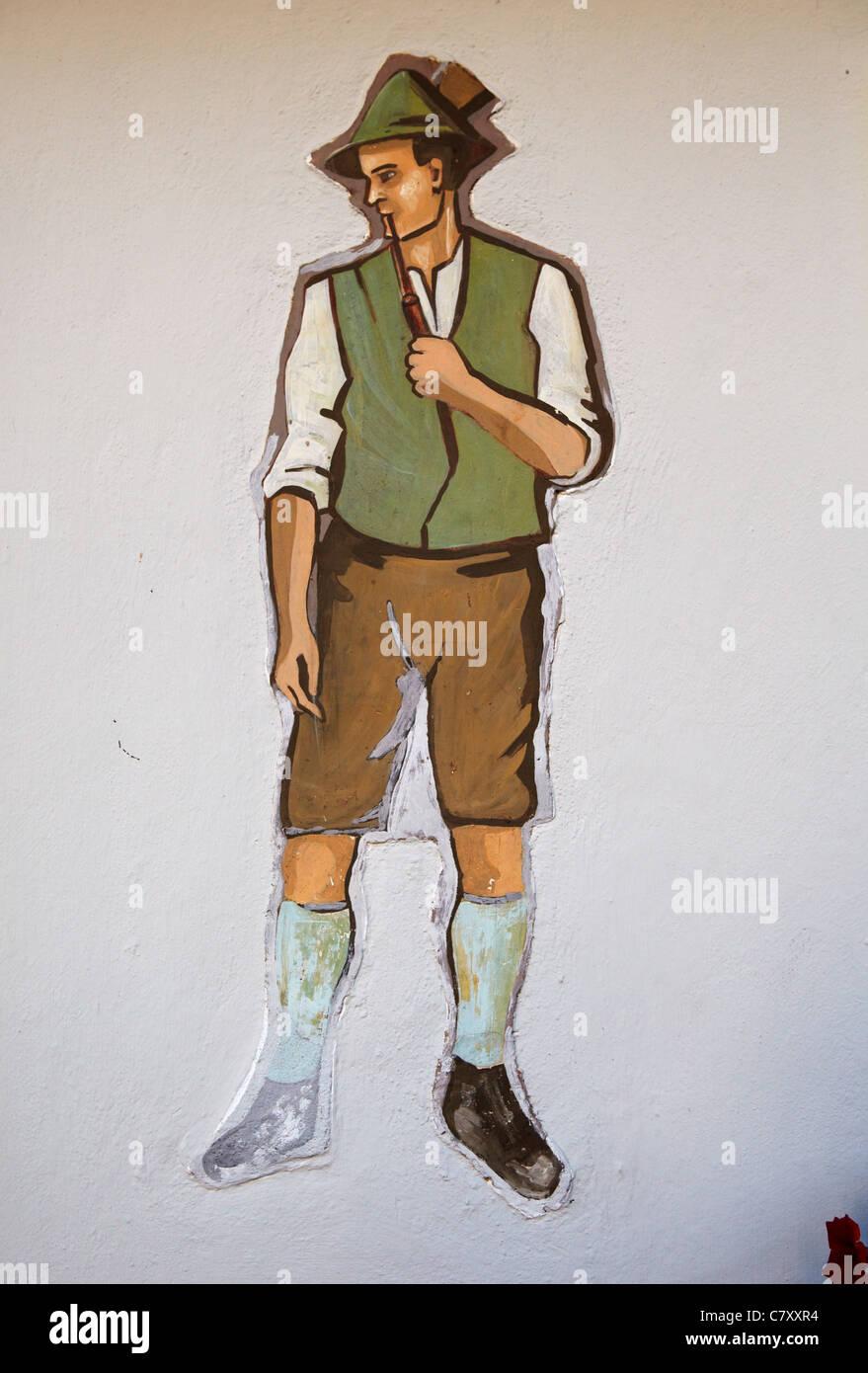 painting of Austrian man in Lederhosen - Stock Image