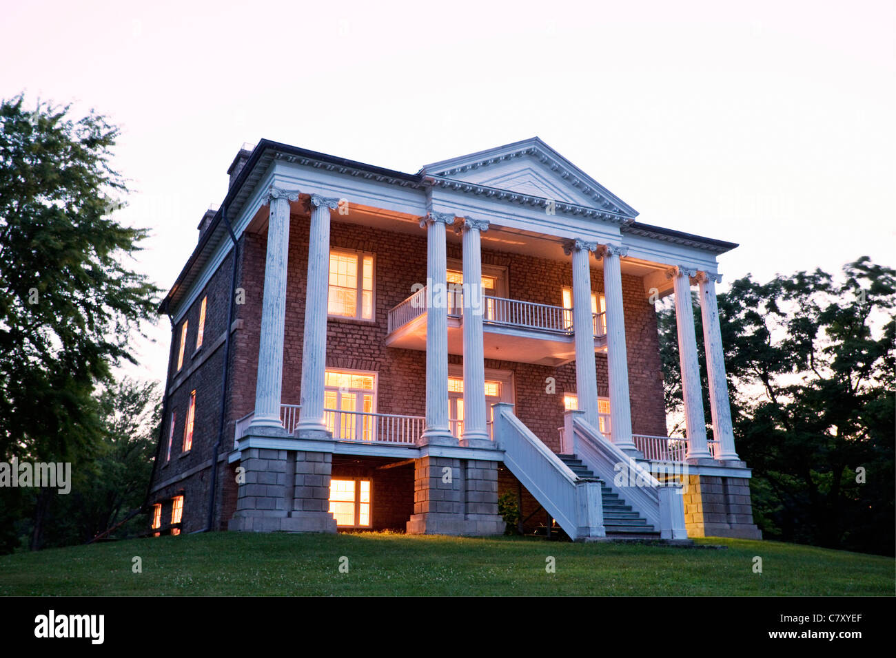 Canada,Ontario,Queenston, Willowbank is a Greek Revival house built in 1834 and designated as a National Historic - Stock Image