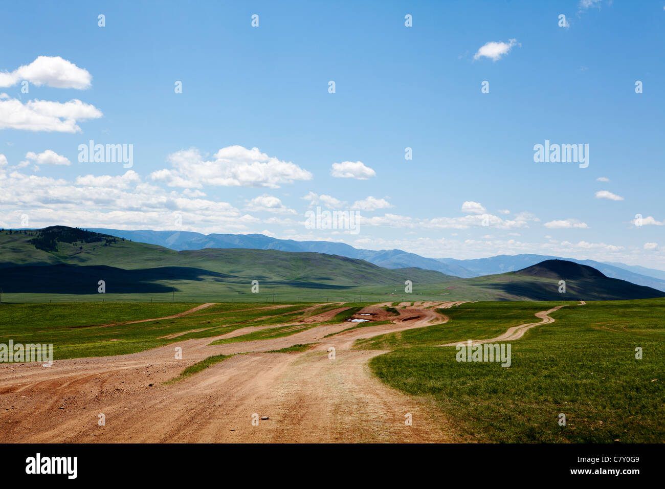 Unpaved road in northern Mongolia. - Stock Image