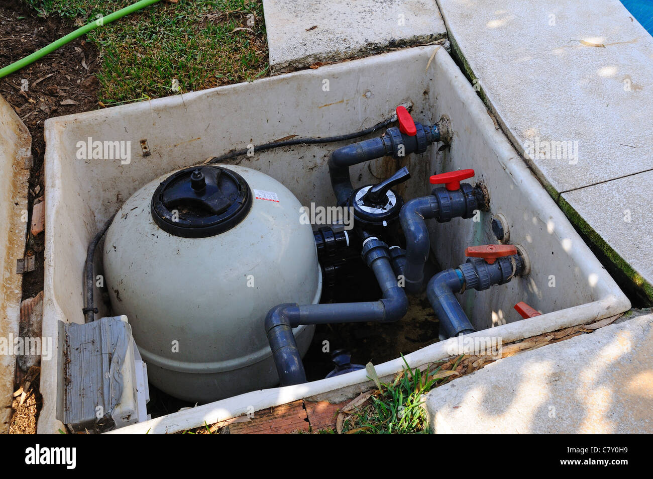 Swimming pool pump and filter unit, Calahonda, Mijas Costa, Costa ...