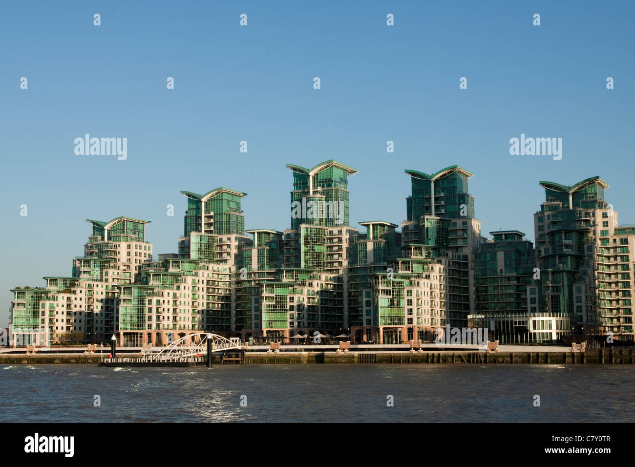 St George Wharf on the banks of the River Thames, Vauxhall, London, England, UK - Stock Image