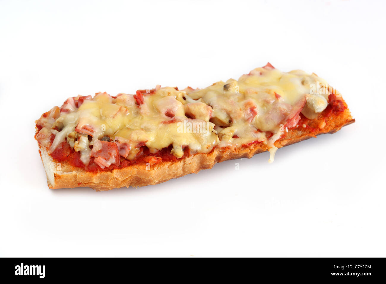 Baguette grillee jambon-tomates Grilled ham and tomato baguette - Stock Image