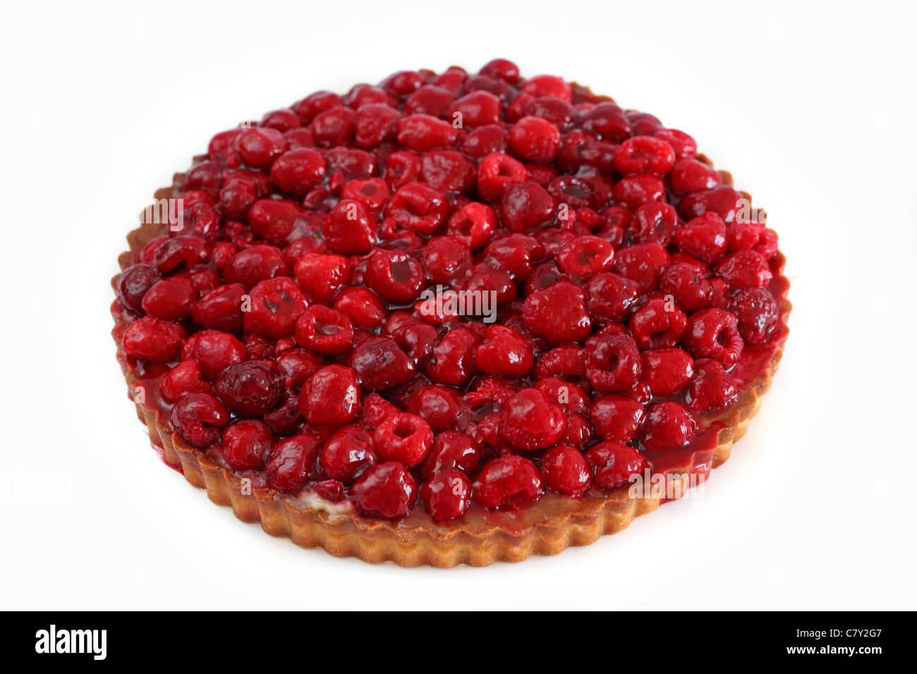 Tarte framboises raspberry tart - Stock Image