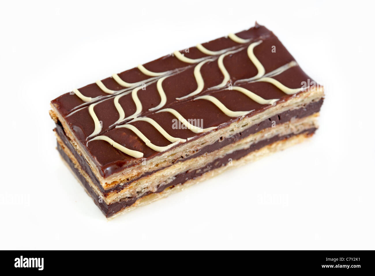 Mille-feuille au chocolat Chocolate layer cake - Stock Image