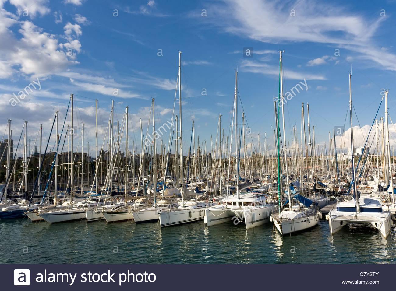 Yachts moorage in Barcelona - Stock Image