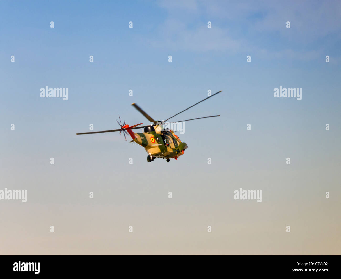 Belgian Air Force search and rescue helicopter in flight, Westland Sea King MK 48 - Stock Image