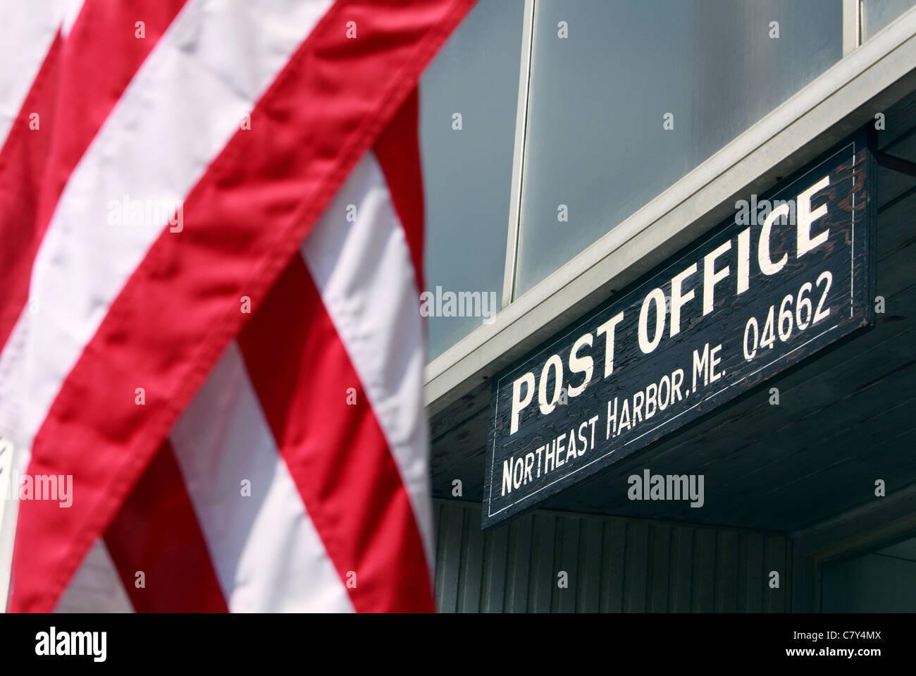 Post Office, Northeast Harbor, Maine - Stock Image