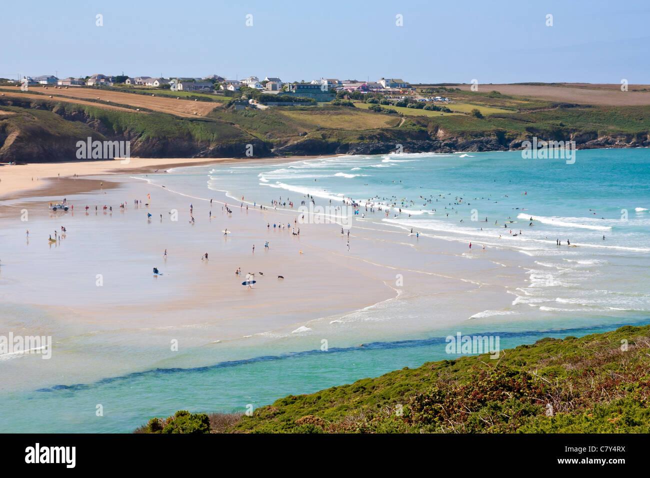 Overlooking Crantock Beach near Newquay Cornwall England UK - Stock Image