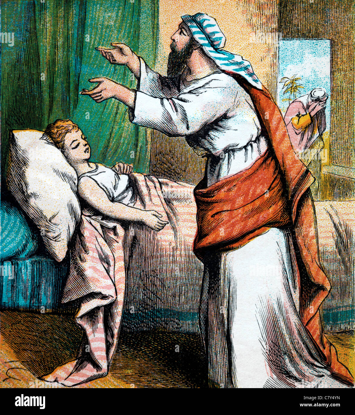 Bible Stories- Illustration Of Elijah Praying To The Lord To Revive The Widow Of Zarephath's Son - Stock Image
