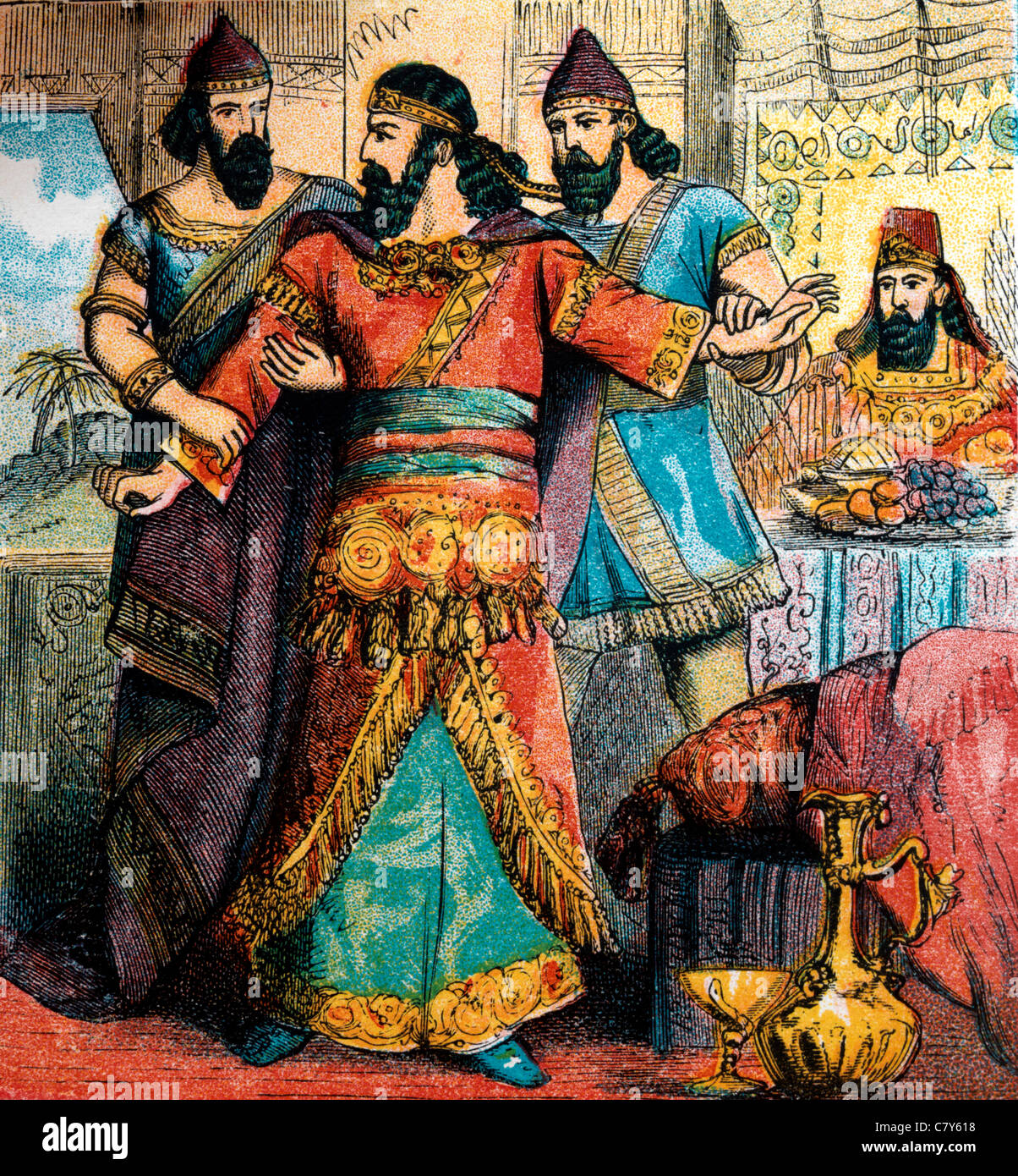 Bible Stories - Illustration Of Haman Standing Up Being Held Pleading For His Life To Esther At The Banquet Esther - Stock Image