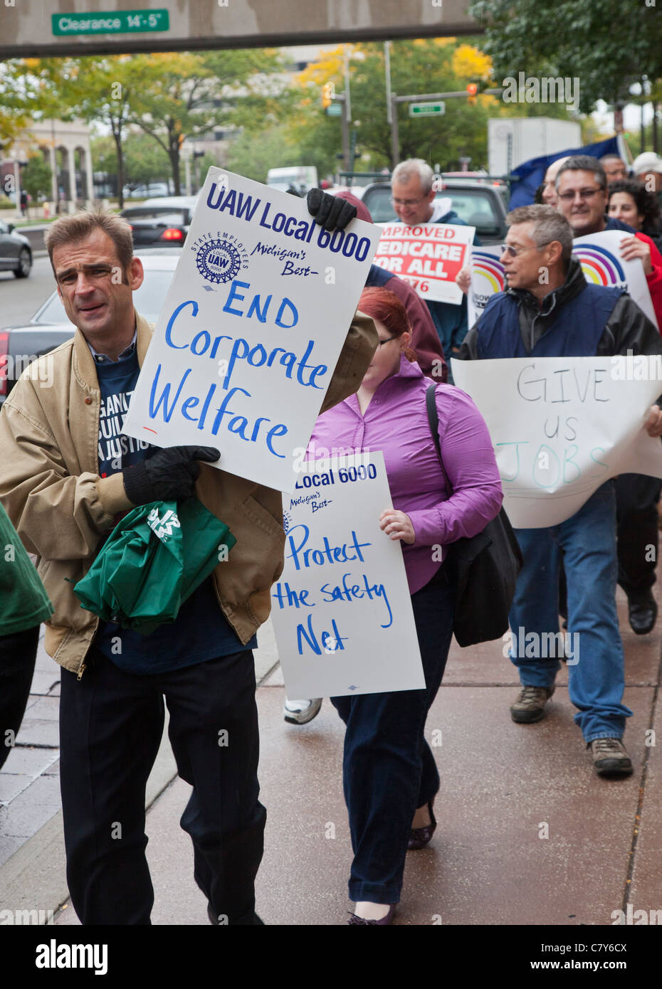 Public Employees Protest Michigan's Welfare Cuts - Stock Image