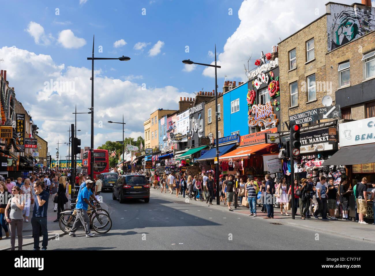 Shops on Camden High Street, Camden Town, North London