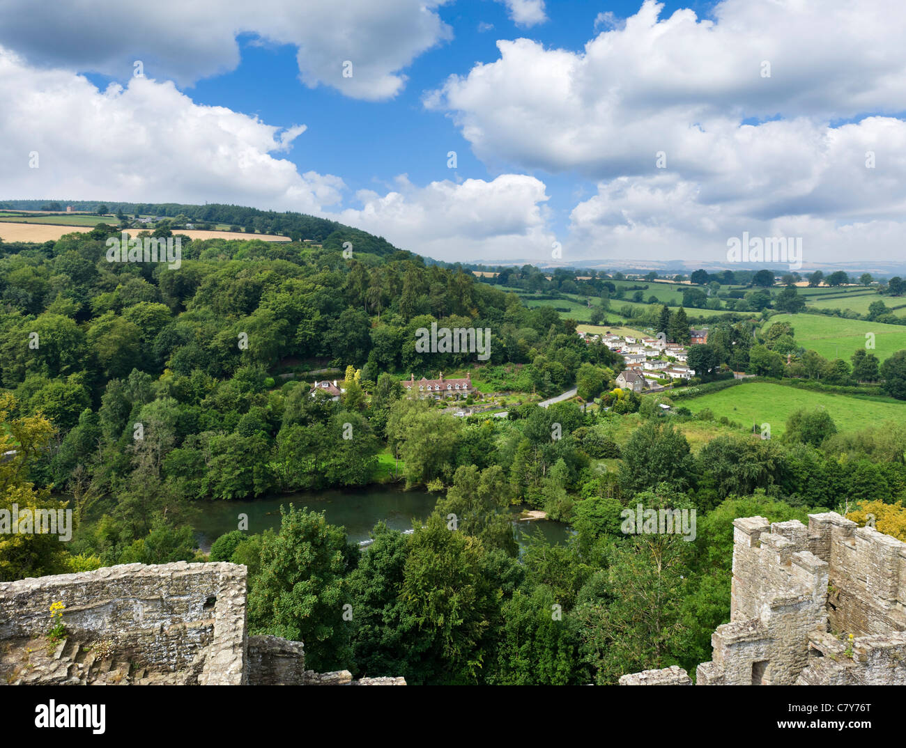 View out over the Shropshire countryside from the walls of Ludlow Castle, Ludlow, Shropshire, England, UK - Stock Image