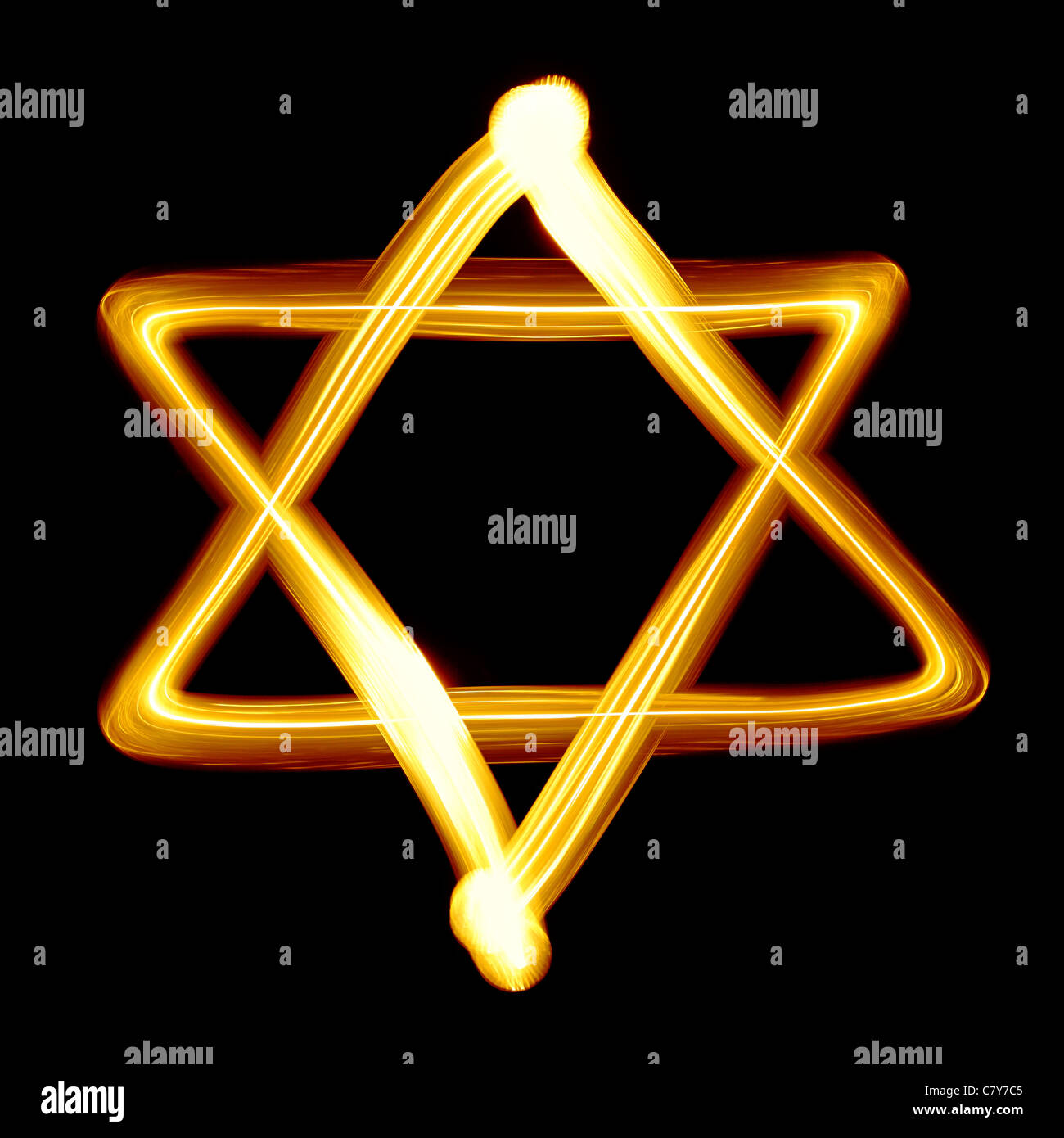 Star of David created by light close-up - Stock Image