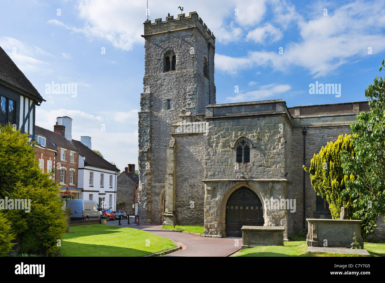 Holy Trinity Church in the village of Much Wenlock, Shropshire, England, UK - Stock Image