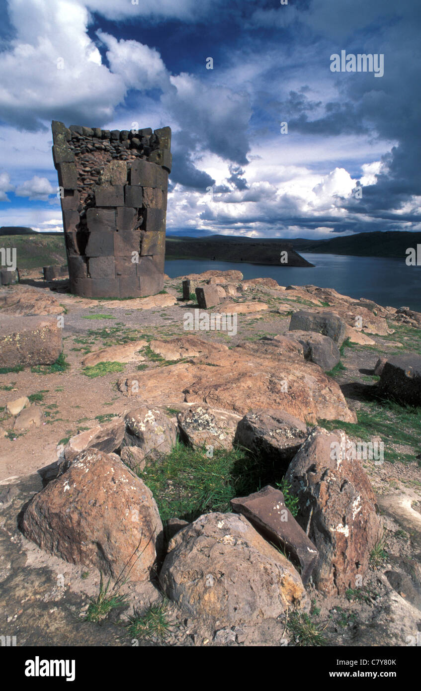 South America, Peru, Titicaca Lake, Sillustani Necropolis Stock Photo