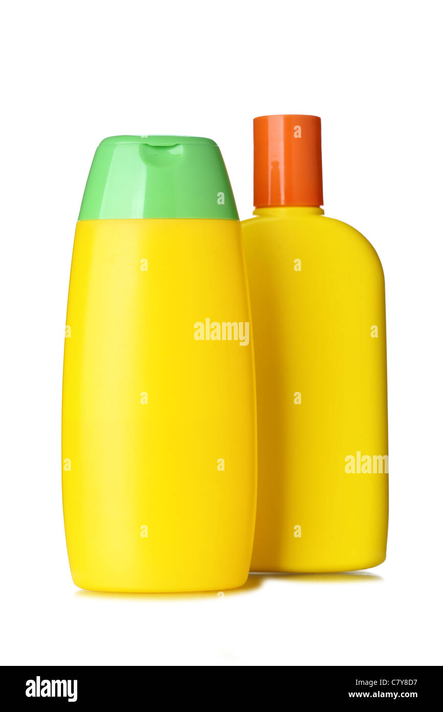 Bottles with hygienic products isolated over the white background - Stock Image