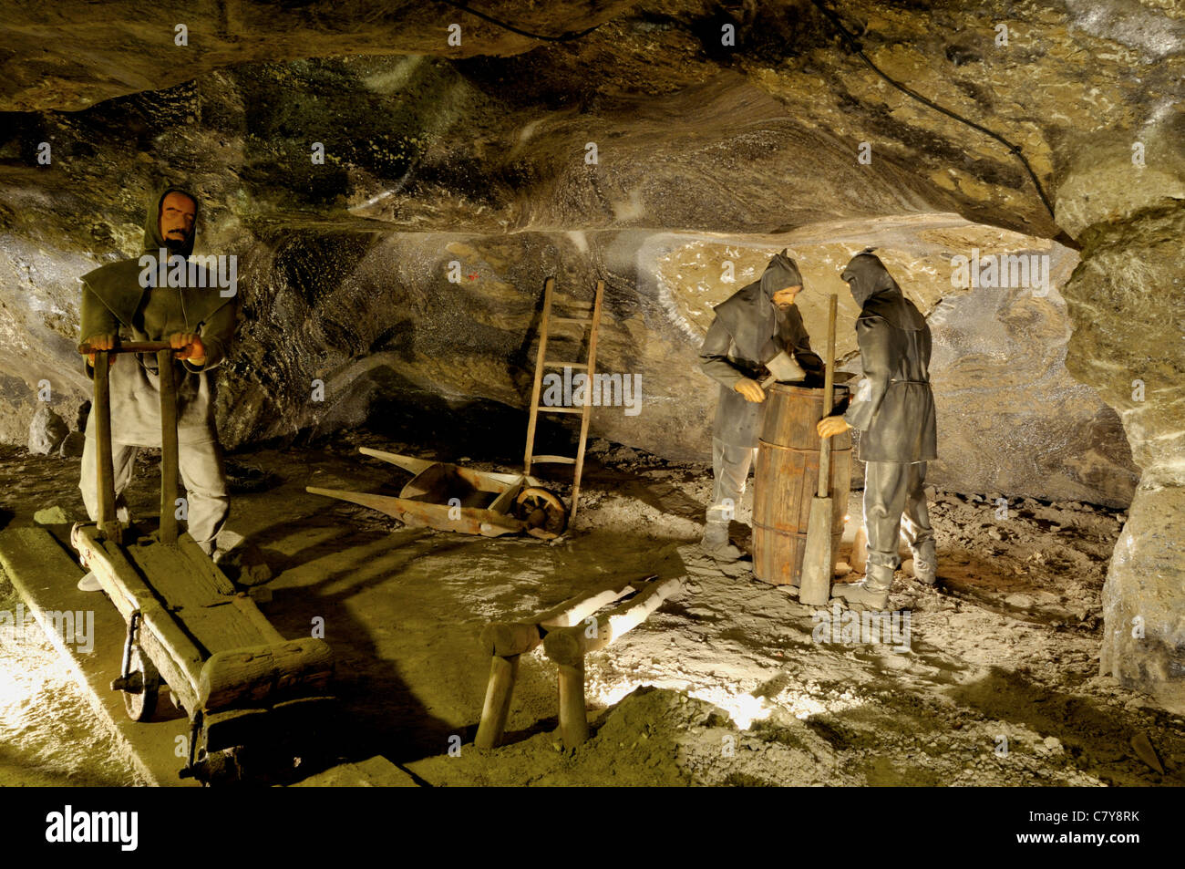The Wieliczka Salt Mine historical underground machinery and mining methods used to extract salt rock from the mine - Stock Image