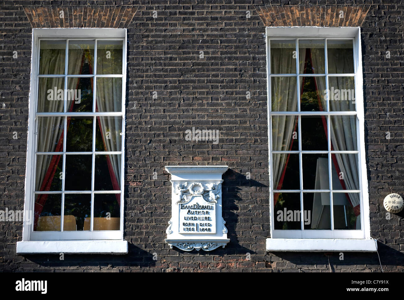 wall plaque marking a home of essayist isaac d'israeli, father of benjamin disraeli, bloomsbury square, london, - Stock Image
