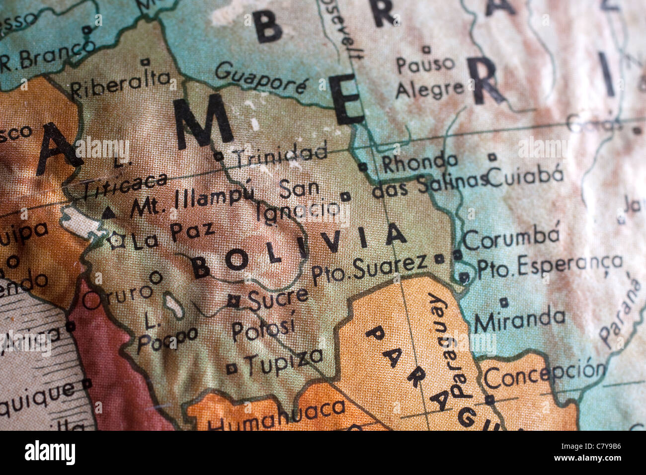 Map of Bolivia - Stock Image