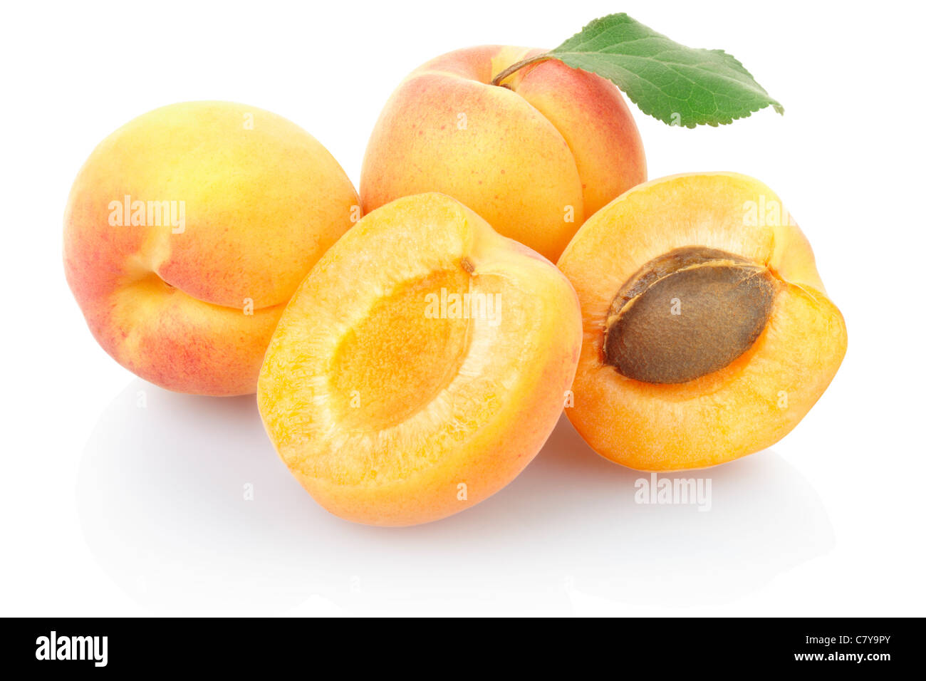 Apricots isolated on white - Stock Image