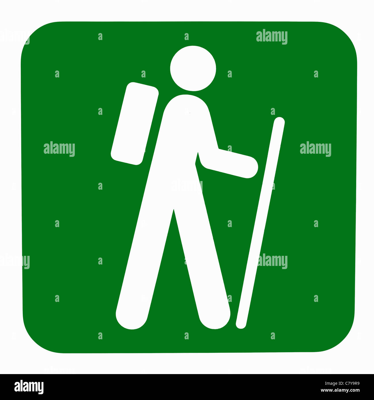 Green nature walk sign with white person figure holding a cane and wearing a backpack Stock Photo