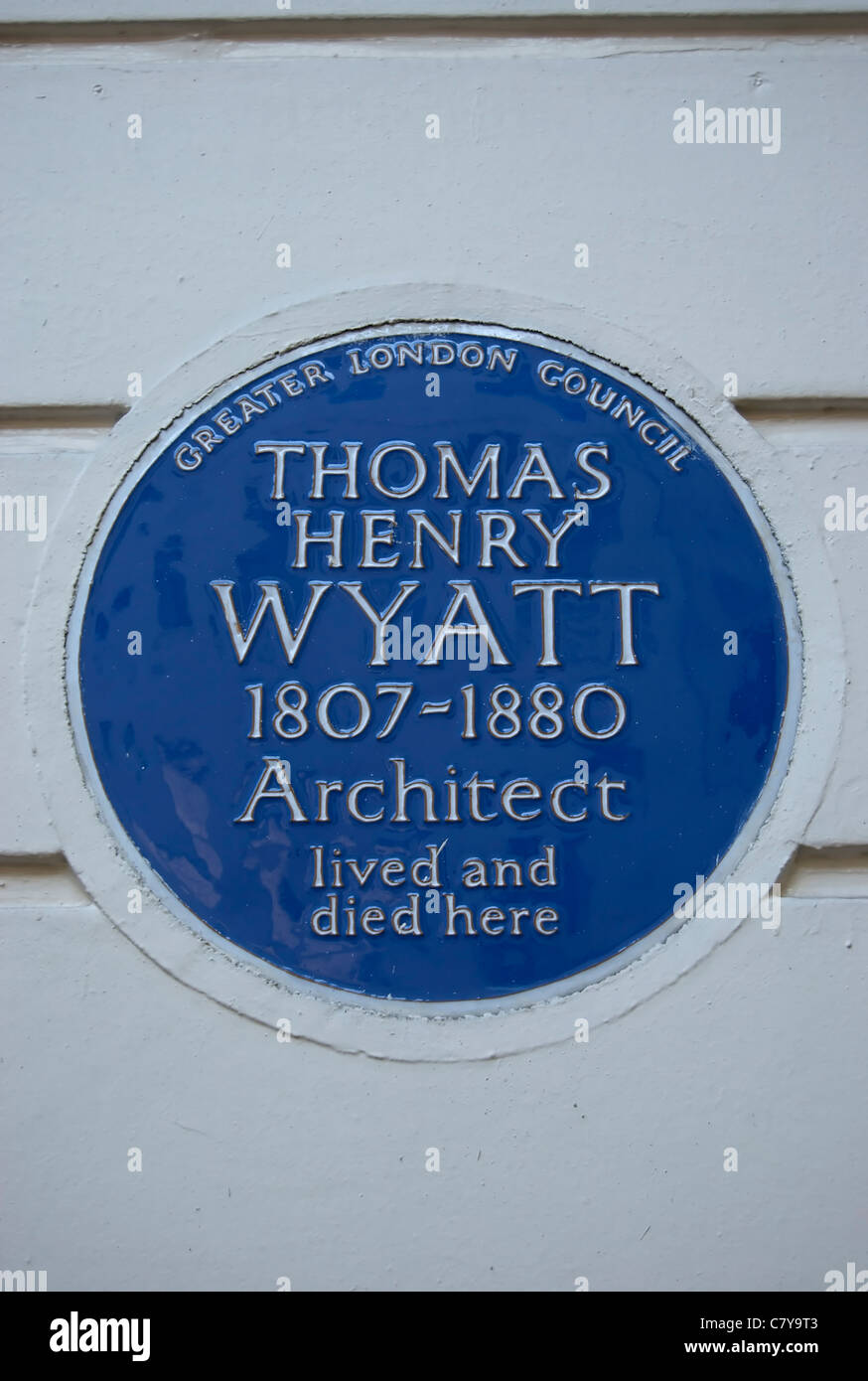 greater london council blue plaque marking a home of architect thomas wyatt, great russell street, london, england - Stock Image