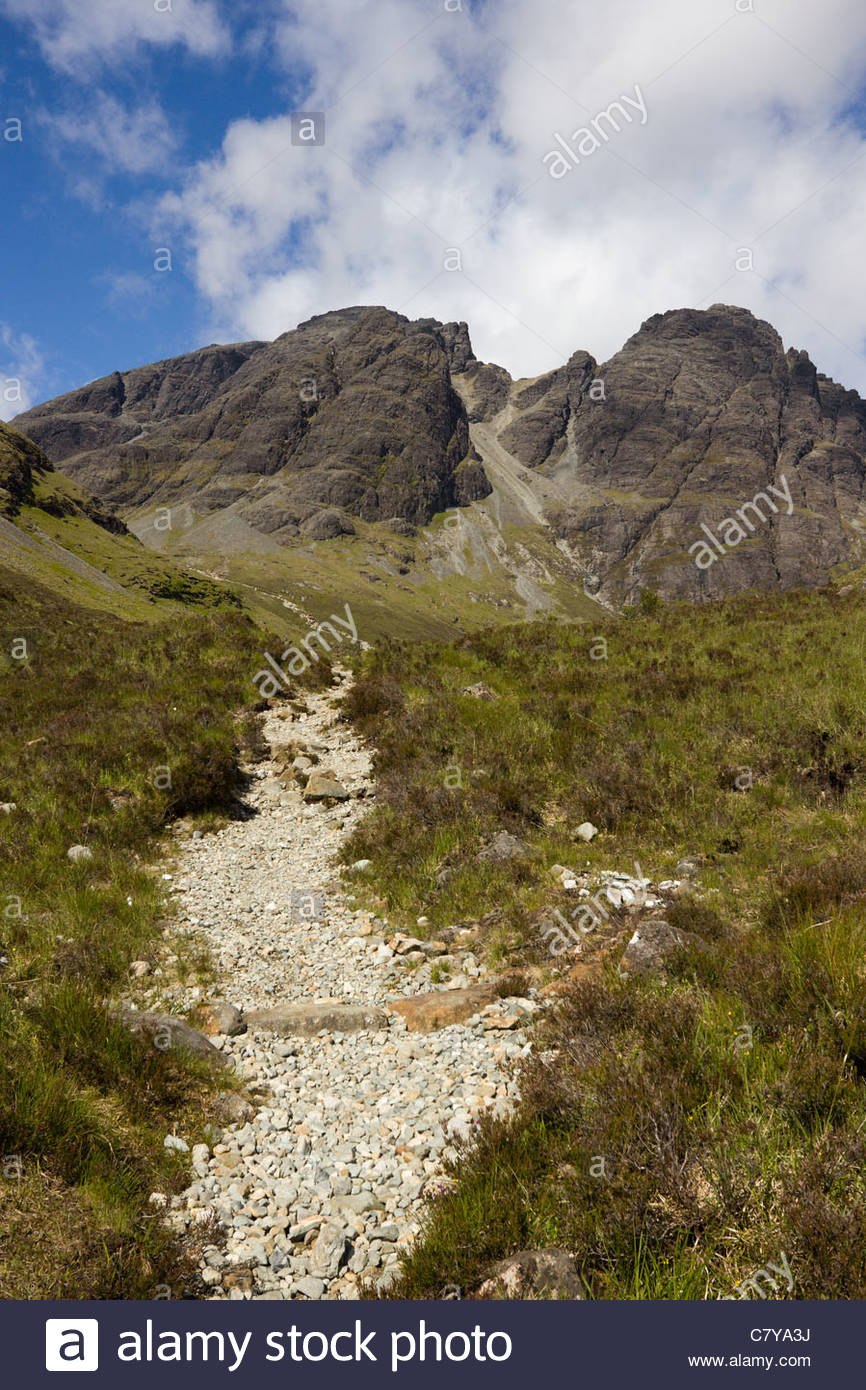 Rough path leading to Blaven and Clach Glas in the Black Cuillin mountains on the Isle of Skye, Scotland UK - Stock Image