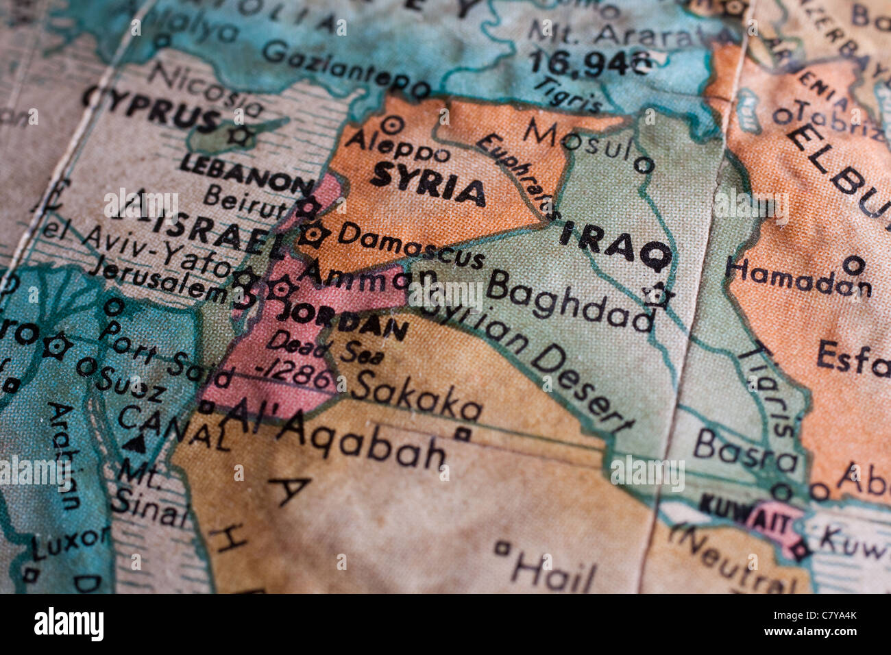 map of the middle east syria iraq stock image
