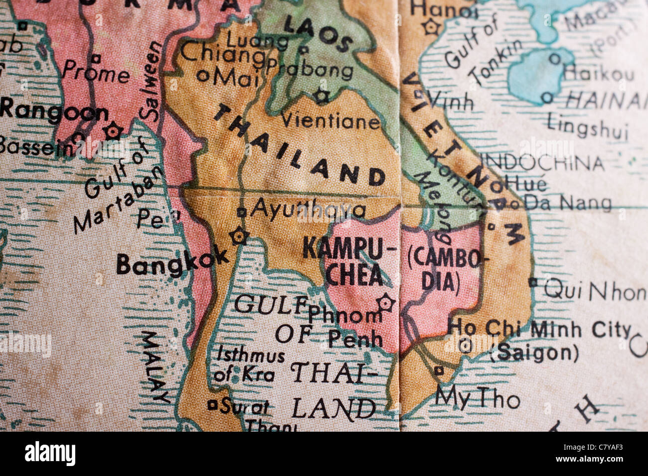 Map of South East Asia - Thailand, Vietnam Stock Photo: 39324295 - Alamy