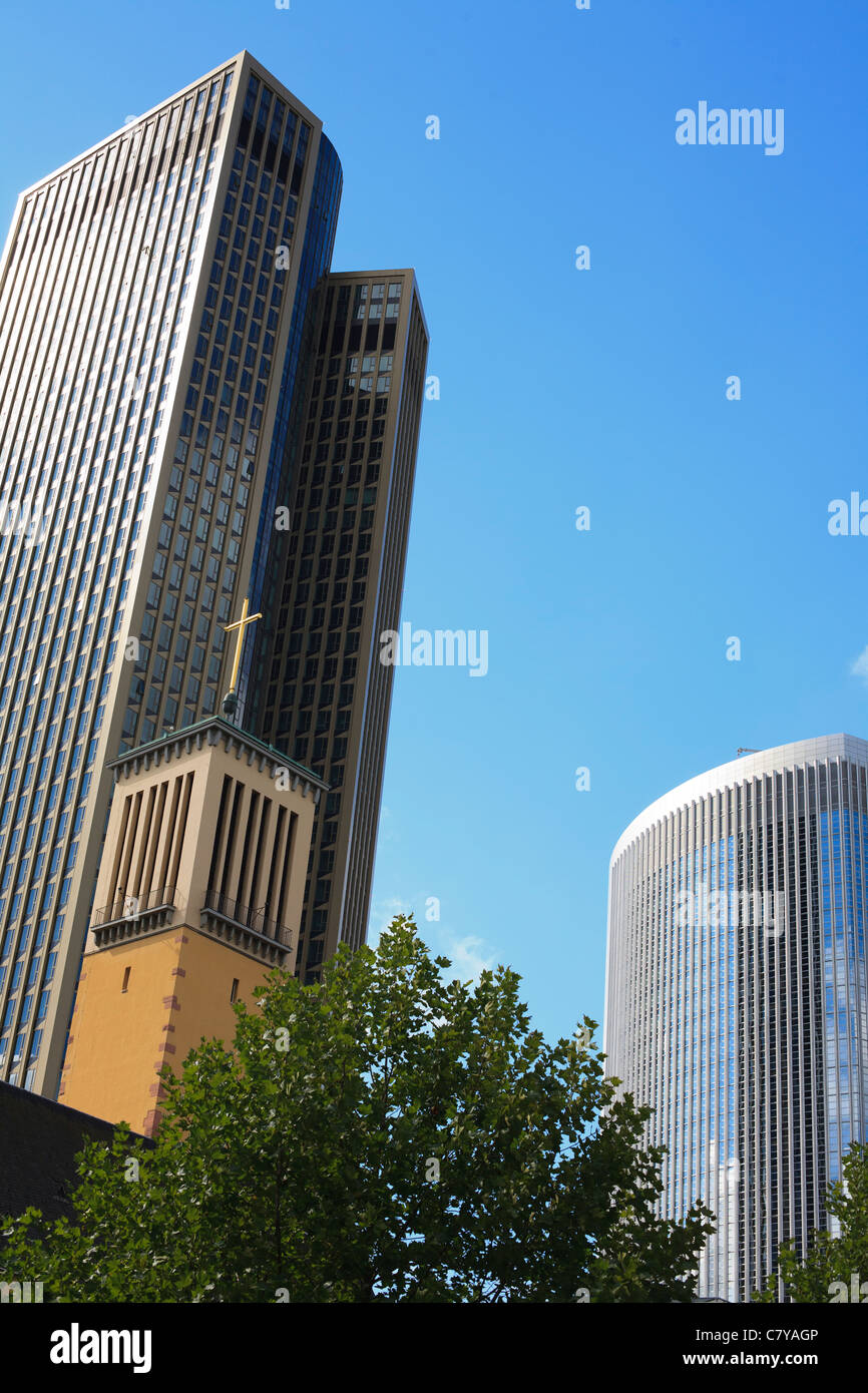 The trade fair tower in Frankfurt am Main known as the Messeturm. Stock Photo