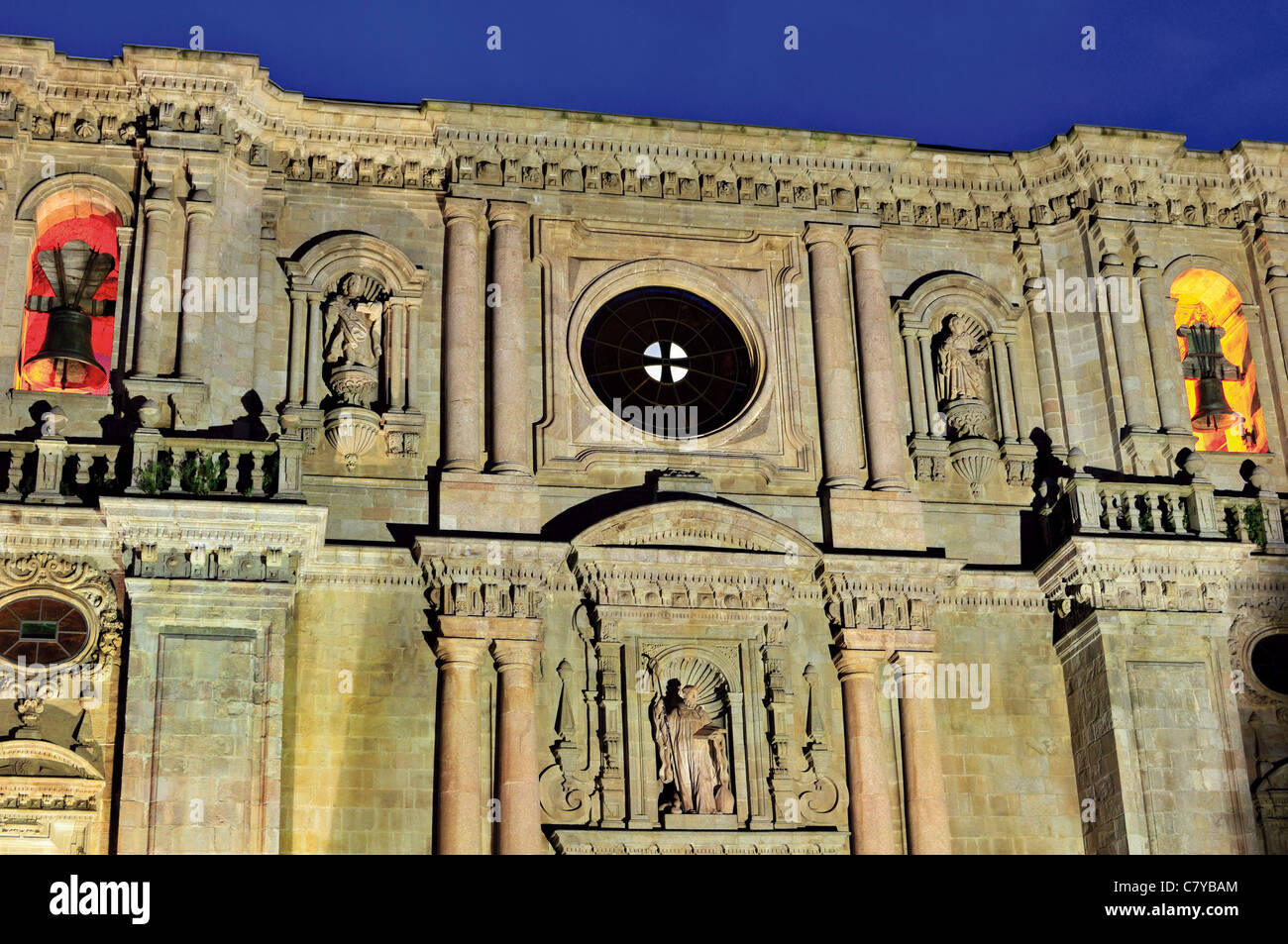 Spain, St. James Way: Main facade of the Monastery of Samos by night - Stock Image