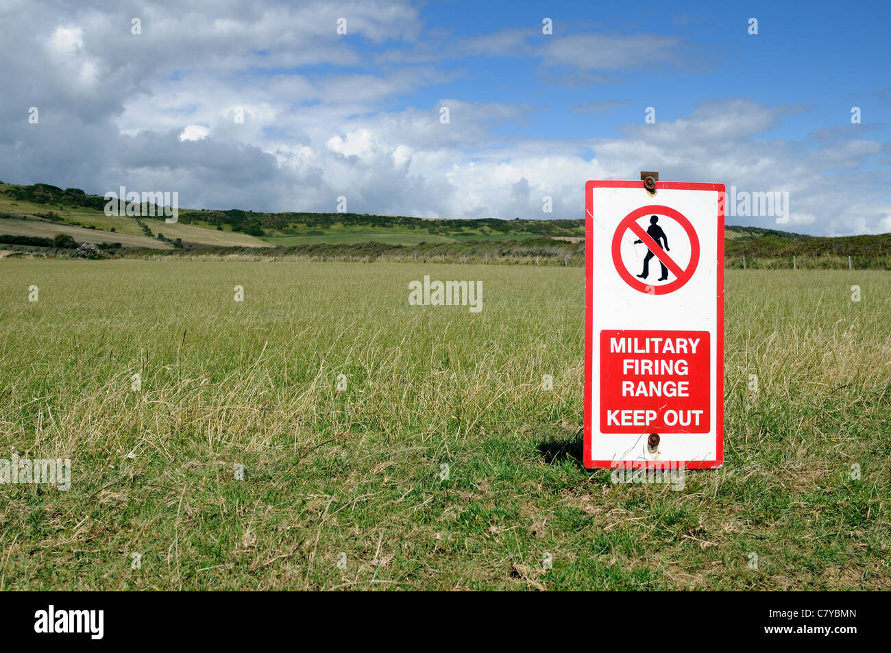 Military firing ranges at Kimmeridge in Dorset UK. Part of the world heritage coastline but public access is restricted - Stock Image