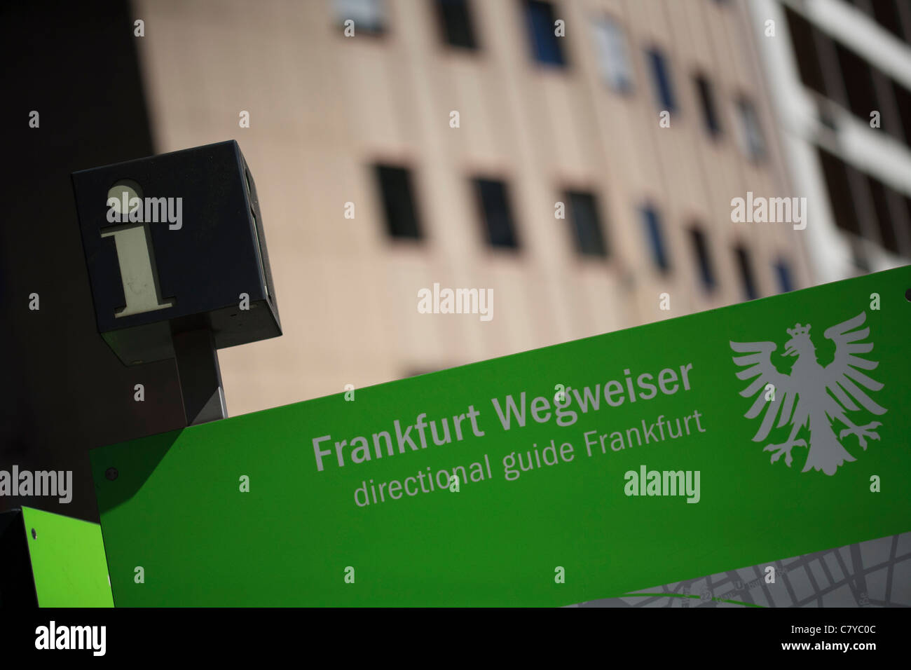 Information sign depicting various points of interest in Frankfurt am Main, Germany. - Stock Image