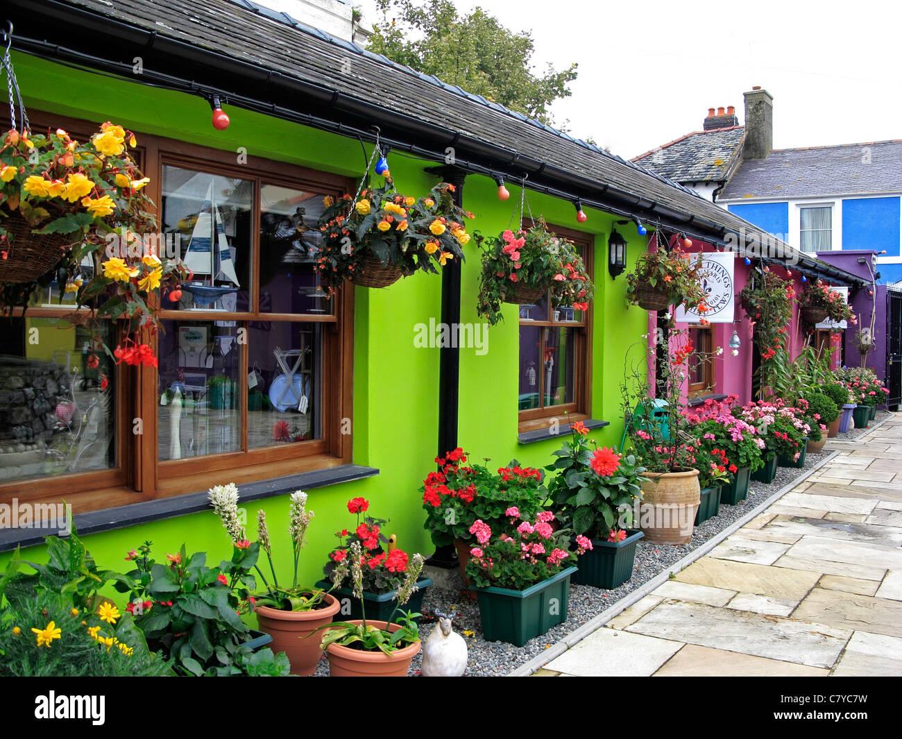 Colourful Shop Fronts Beaumaris Isle of Anglesy North Wales UK United Kingdom EU European Union Europe - Stock Image