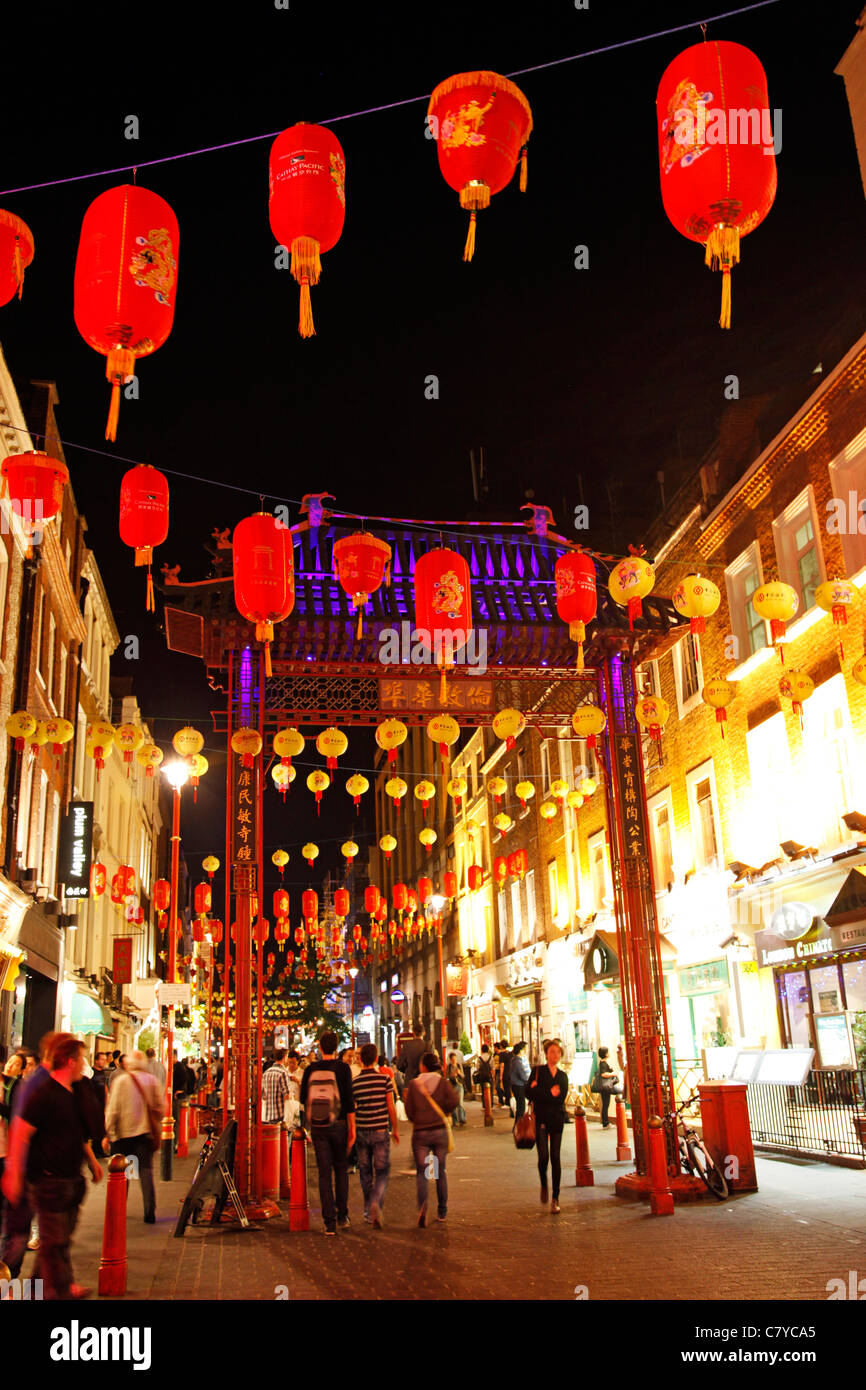 Red lanterns in Chinatown, London, England Stock Photo