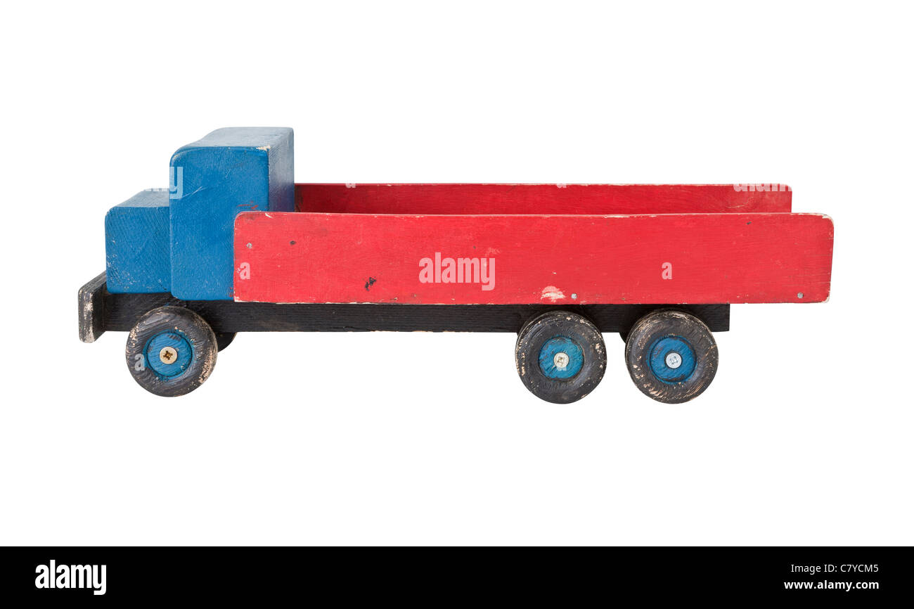Vintage wooden toy truck - homemade - Stock Image