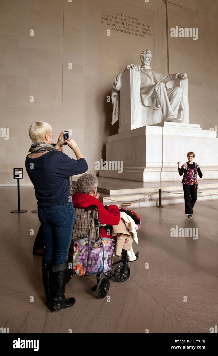 Disabled tourist in a wheelchair at the Lincoln Memorial, Washington DC USA - Stock Image