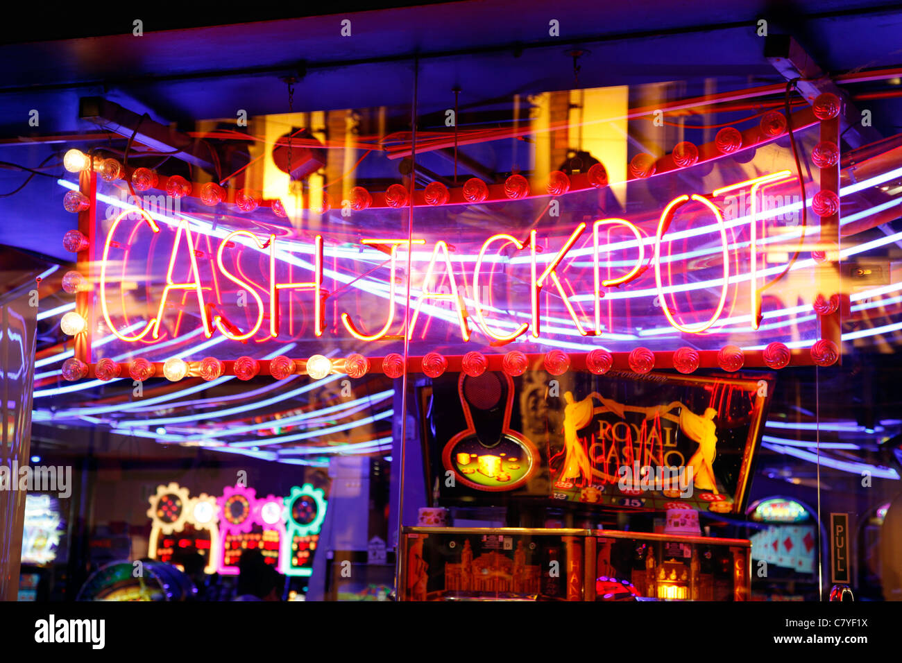 Cash Jackpot sign in Chinatown, London, England - Stock Image