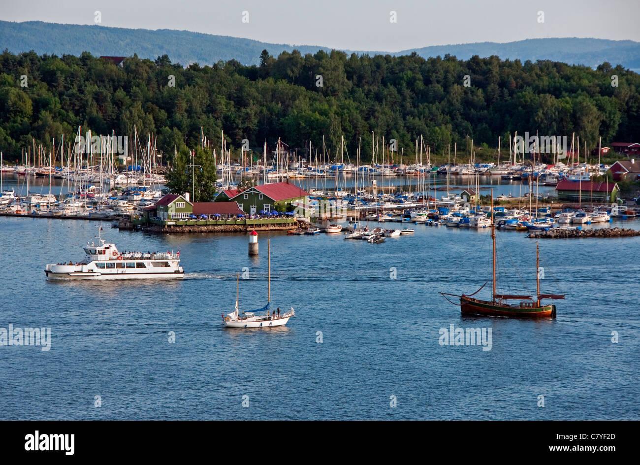 Marina in Oslofjord near Oslo's city harbor Stock Photo