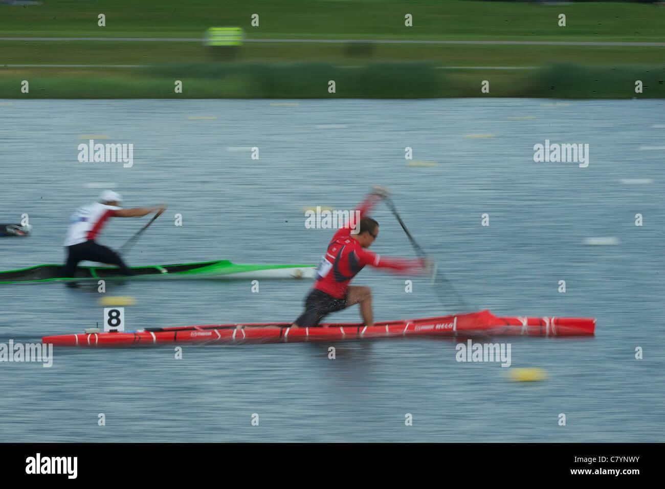 Competitors at start, Canoe Sprint Olympic Test Event, men's 200m C1, Eton Dorney Lake Eton Dorney, England - Stock Image