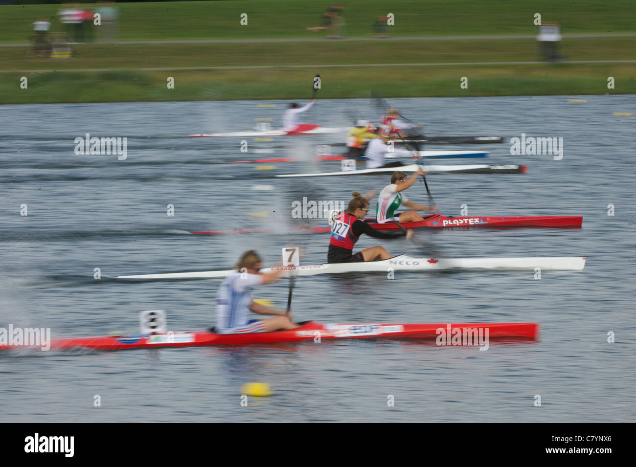 Competitors at start, Canoe Sprint Olympic Test Event, women's 200m K1, Eton Dorney Lake Eton Dorney, England - Stock Image