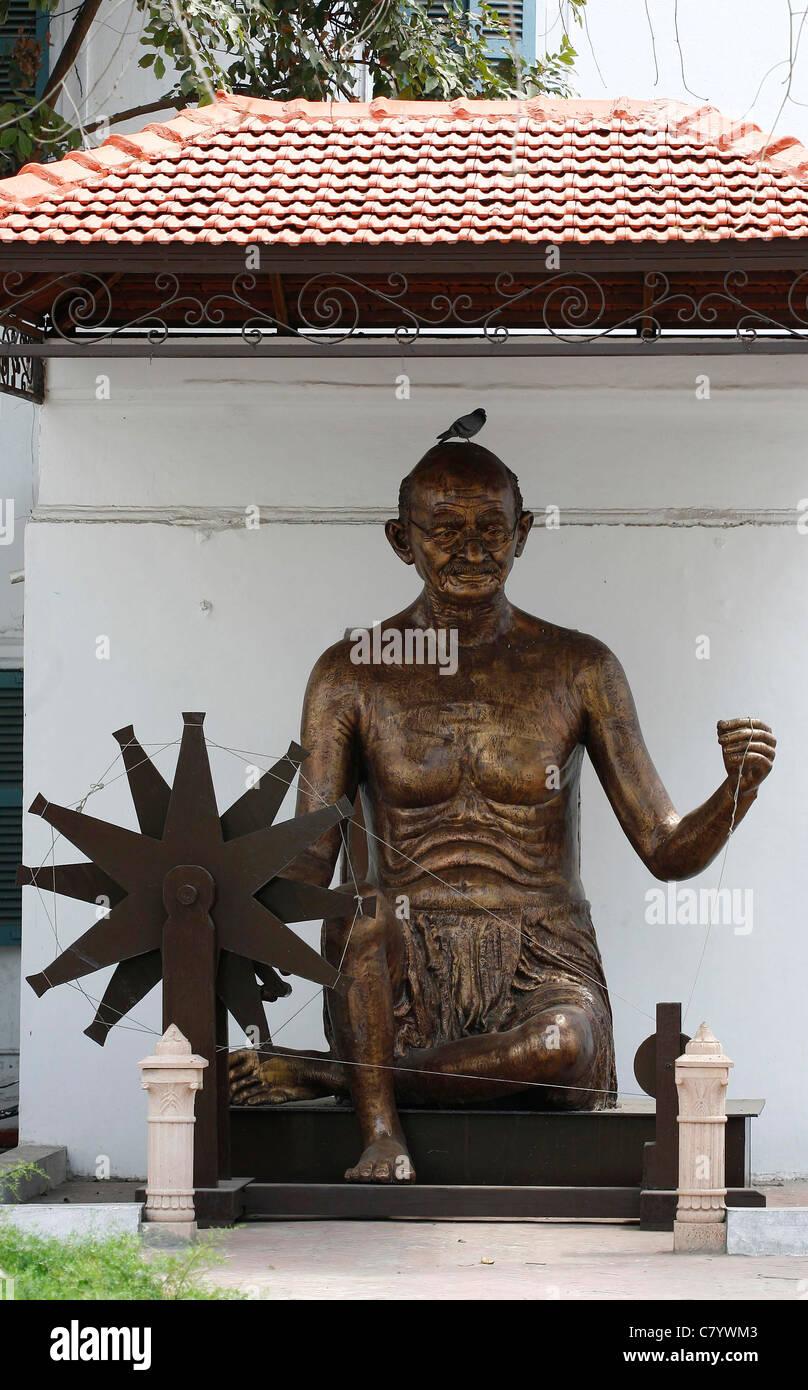 Statue of Mahatma Gandhi Birla House, New Delhi India. - Stock Image