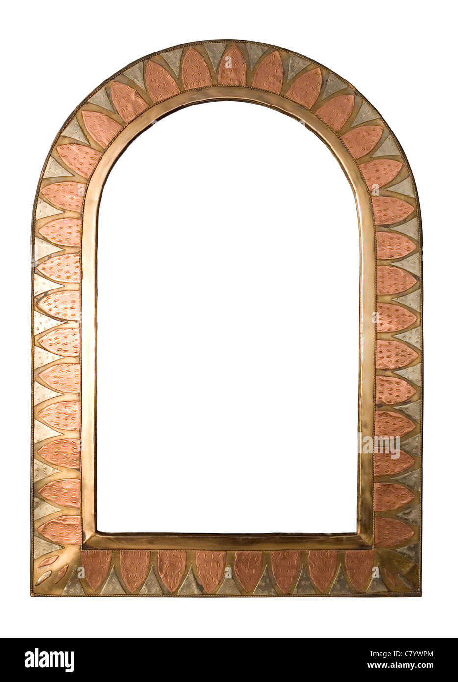A brass and copper arched picture frame, isolated on white with ...